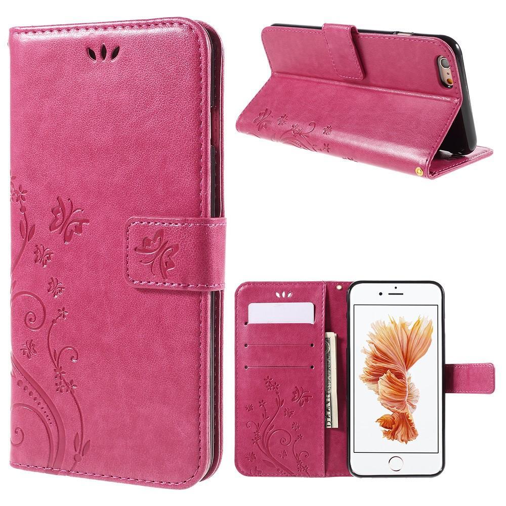 Nahkakotelo Perhonen Apple iPhone 6/6S vaaleanpunainen