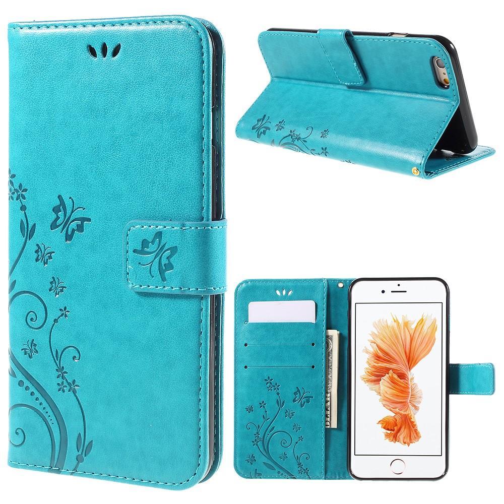 Nahkakotelo Perhonen Apple iPhone 6/6S sininen
