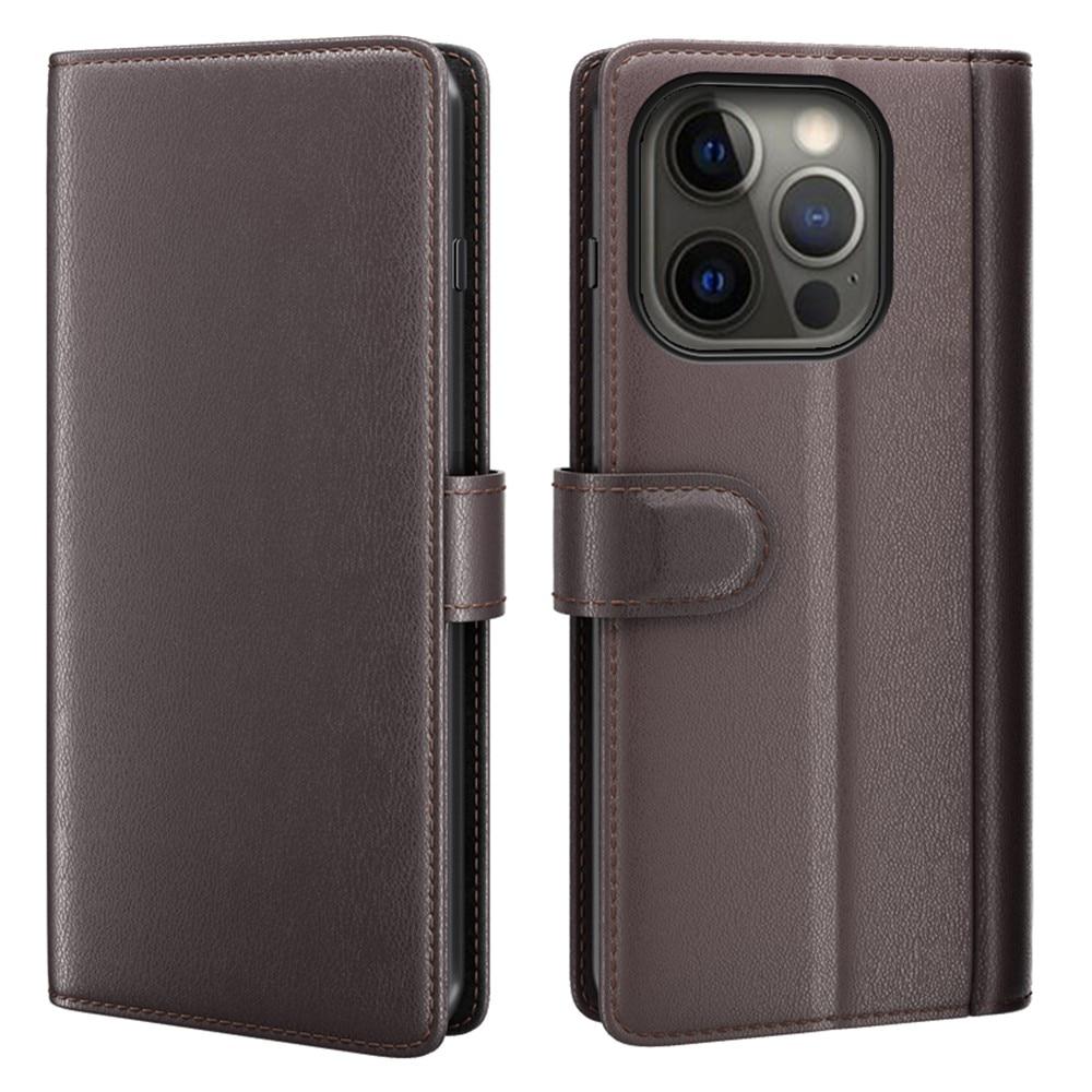 Aito Nahkakotelo iPhone 13 Pro Max ruskea