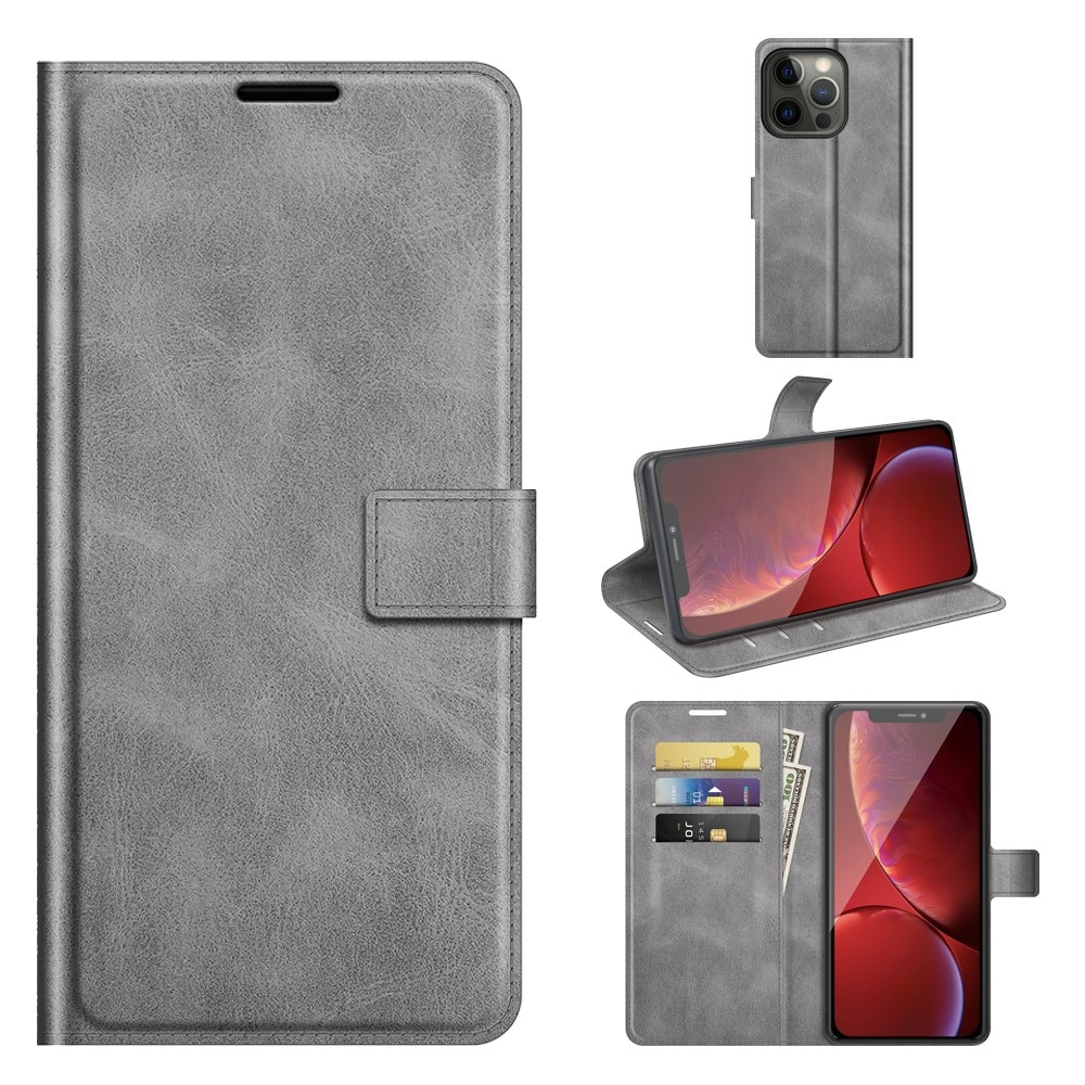 Leather Wallet iPhone 13 Pro Max Grey