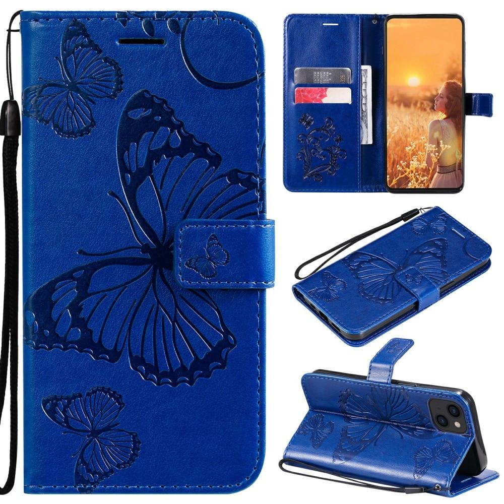 Nahkakotelo Perhonen iPhone 13 sininen