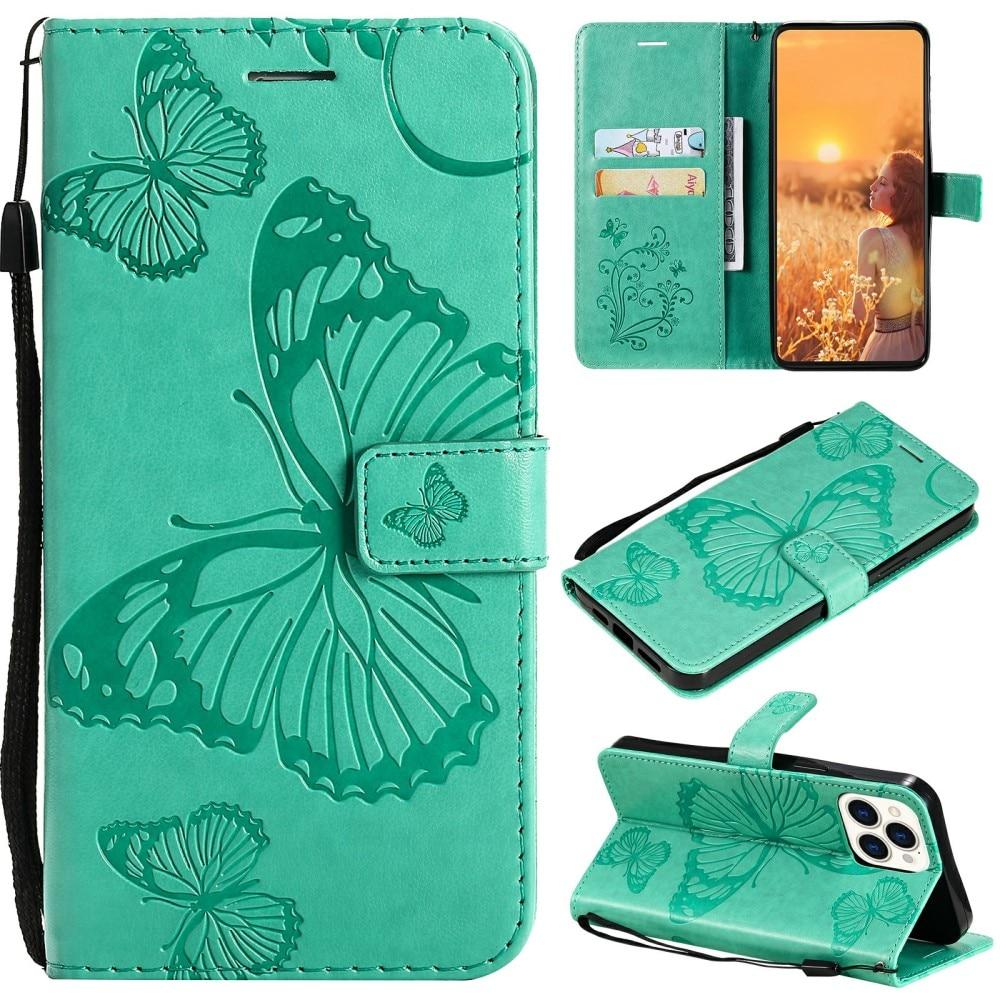 Nahkakotelo Perhonen iPhone 13 Pro vihreä