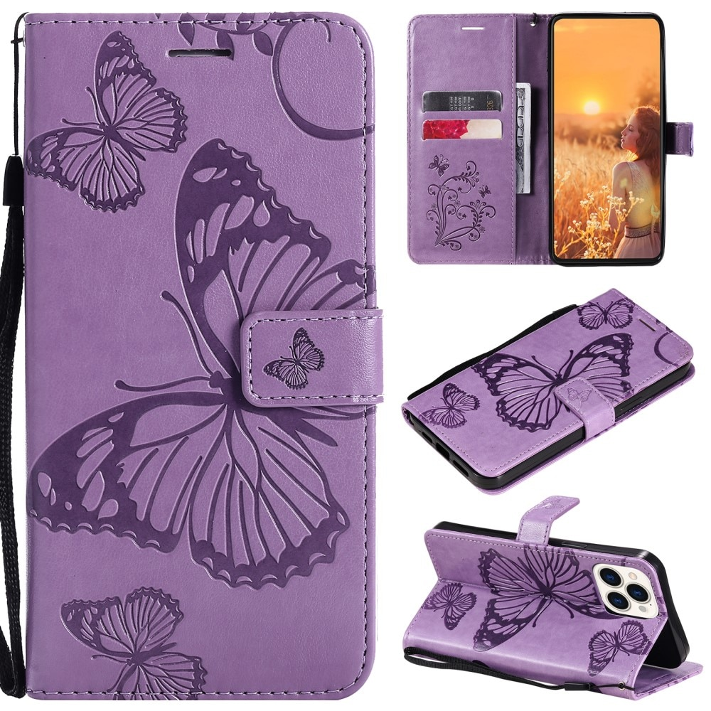 Nahkakotelo Perhonen iPhone 13 Pro liila