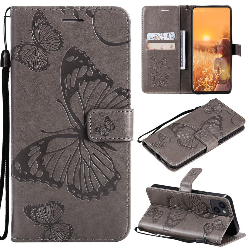Nahkakotelo Perhonen iPhone 13 Mini harmaa