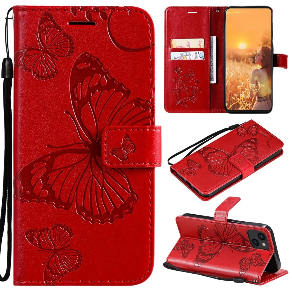 Nahkakotelo Perhonen iPhone 13 Mini punainen