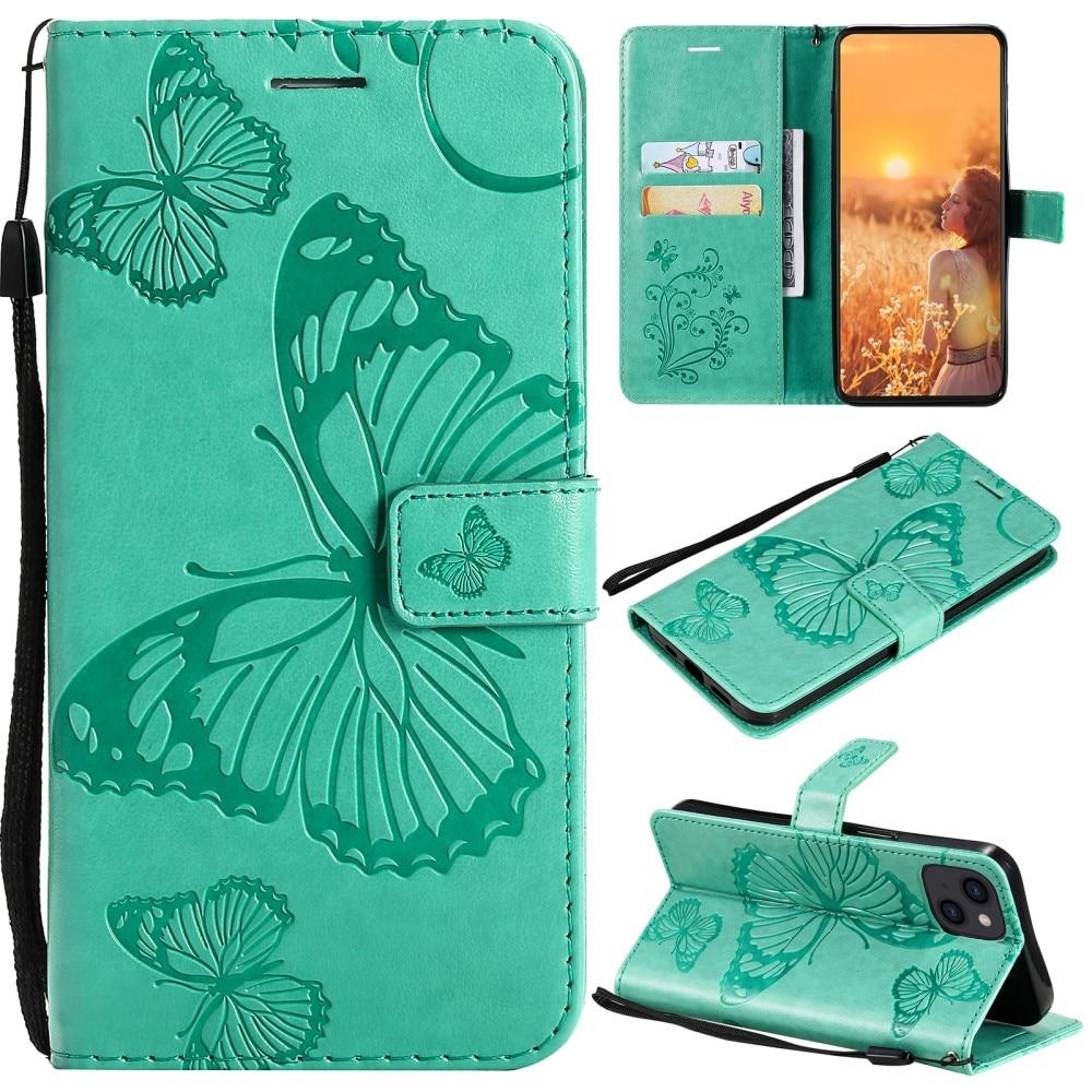 Nahkakotelo Perhonen iPhone 13 Mini vihreä