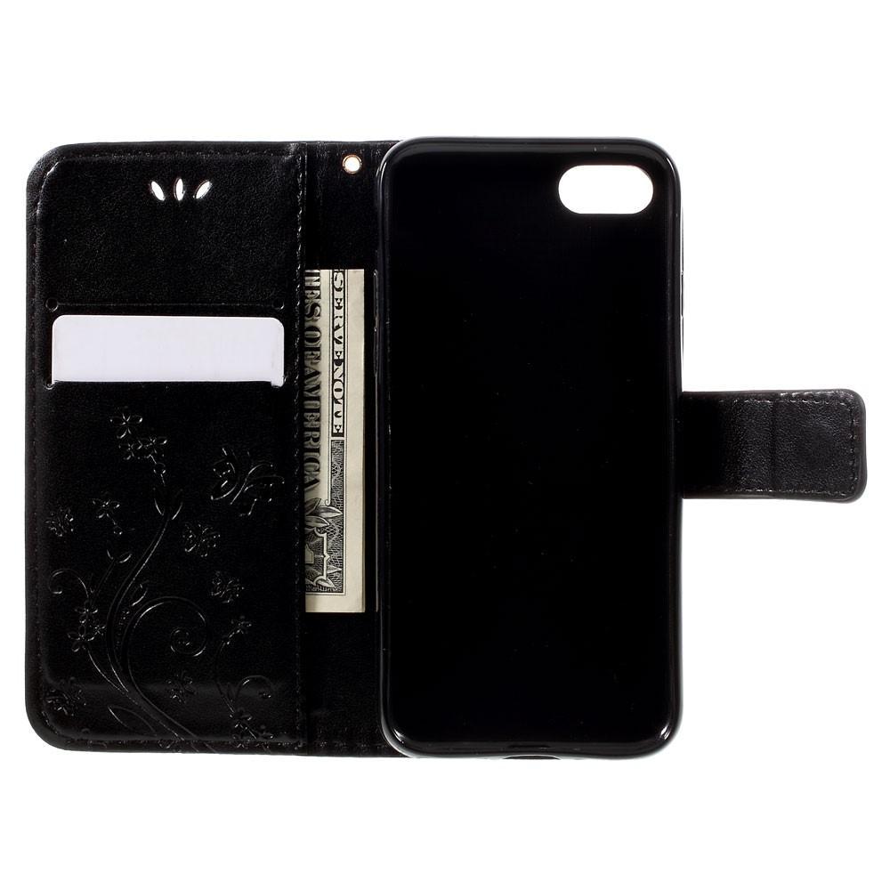 Nahkakotelo Perhonen iPhone 7/8/SE 2020 musta