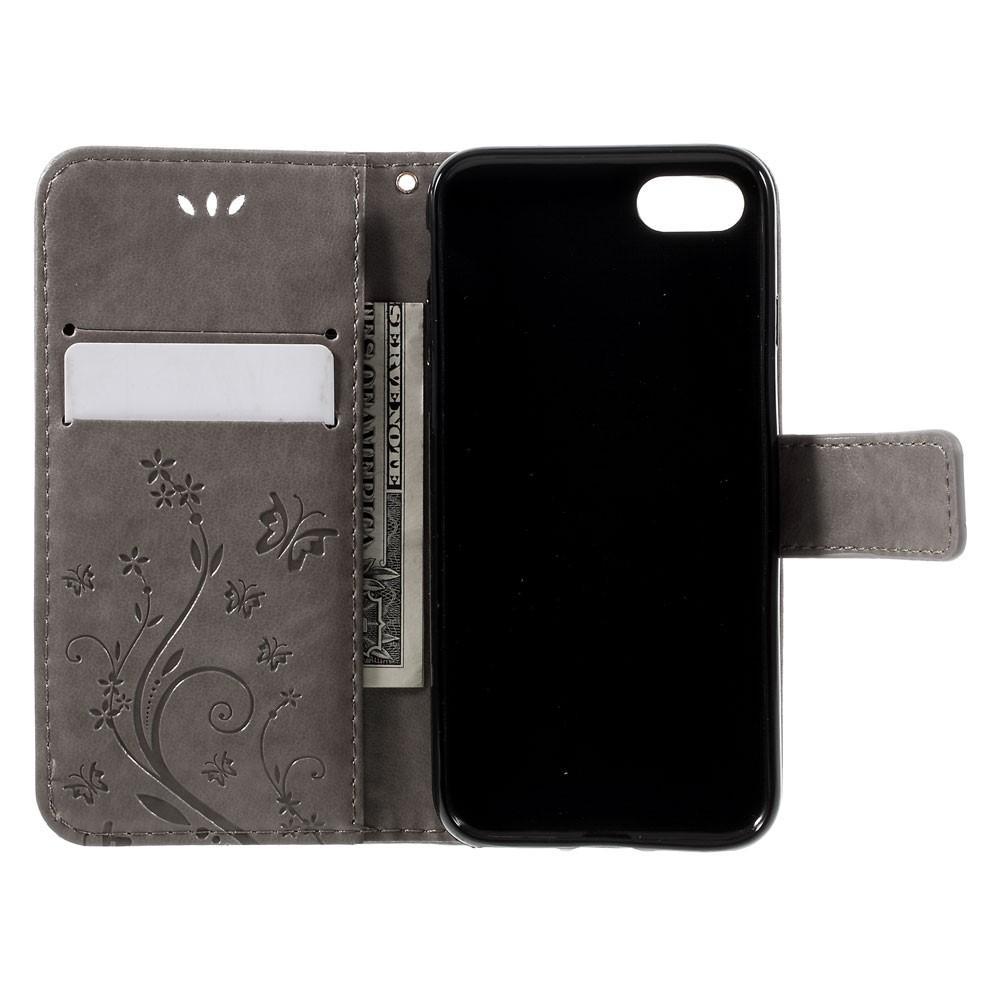 Nahkakotelo Perhonen iPhone 7/8/SE 2020 harmaa