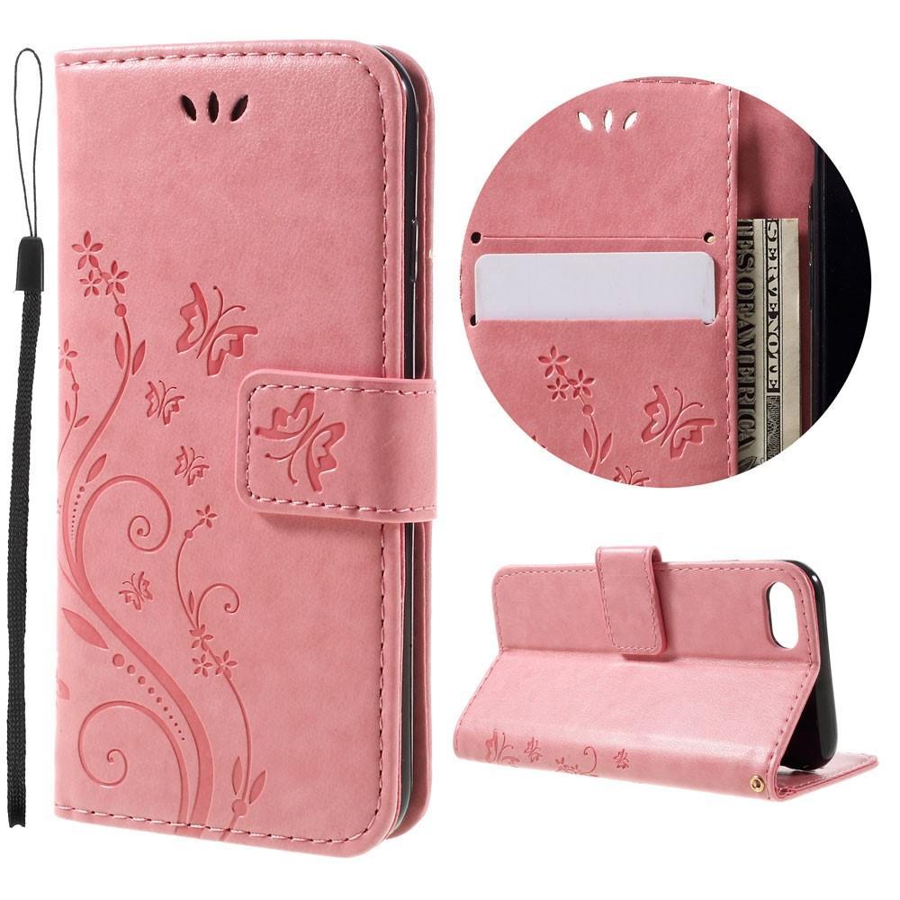 Nahkakotelo Perhonen iPhone 7/8/SE 2020 vaaleanpunainen