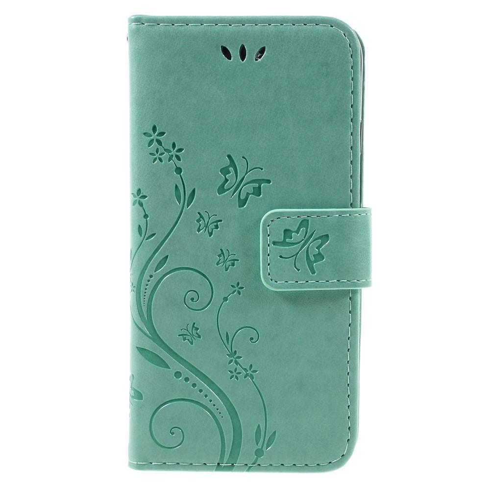 Nahkakotelo Perhonen iPhone 7/8/SE 2020 vihreä
