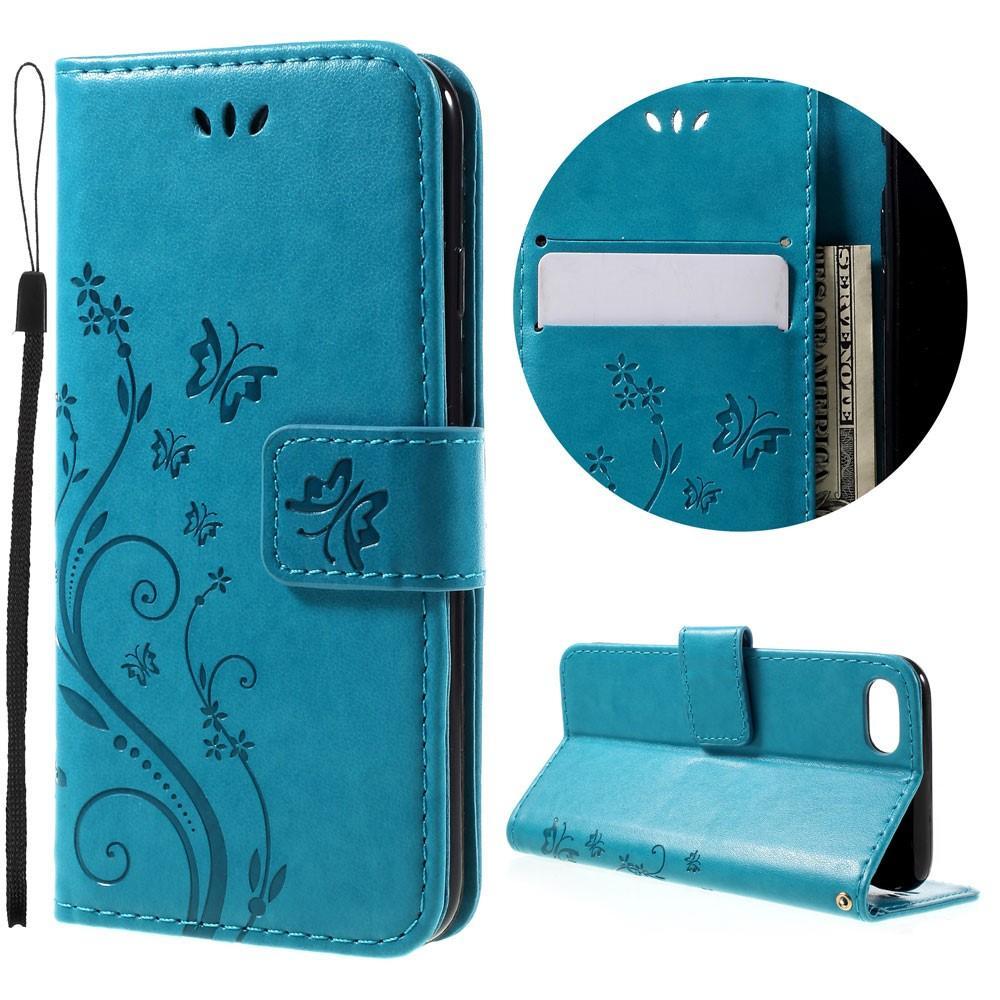 Nahkakotelo Perhonen iPhone 7/8/SE 2020 sininen