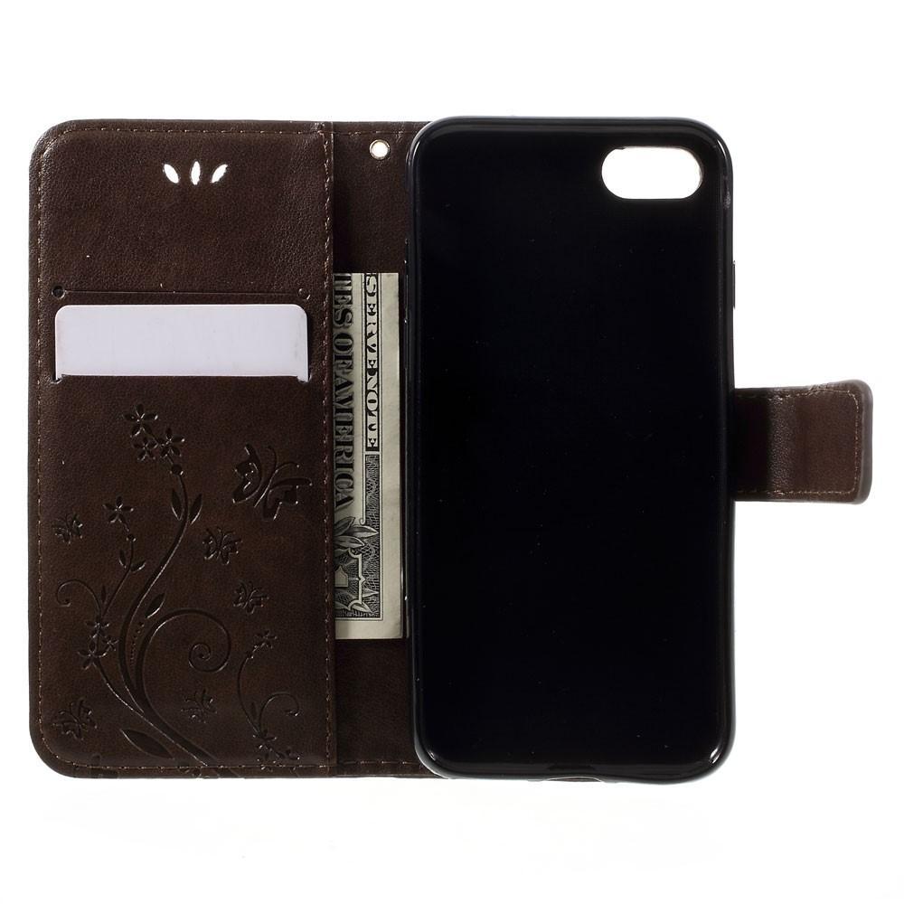 Nahkakotelo Perhonen iPhone 7/8/SE 2020 ruskea