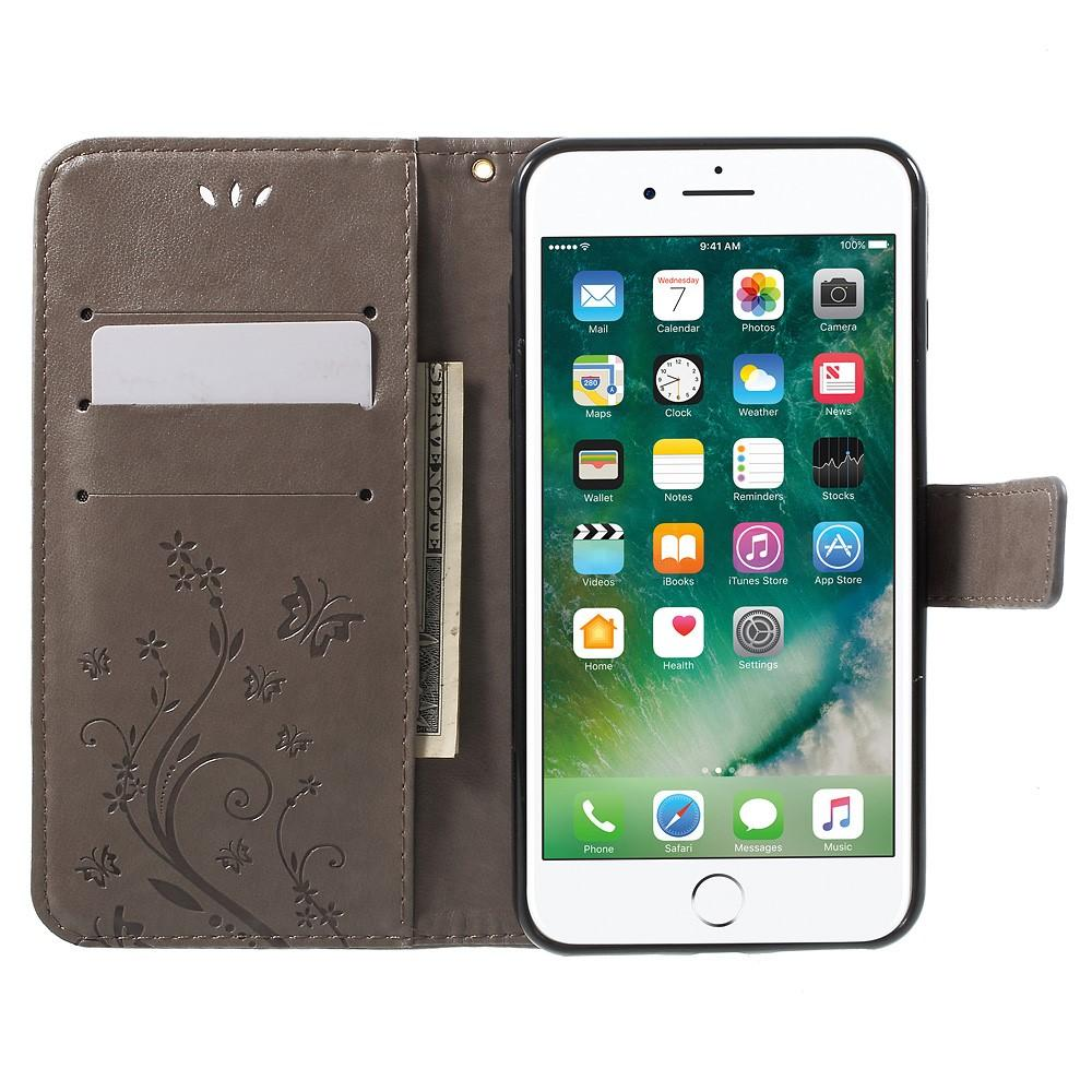 Nahkakotelo Perhonen iPhone 7 Plus/8 Plus harmaa