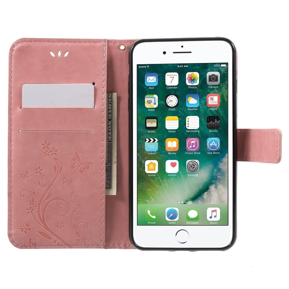 Nahkakotelo Perhonen iPhone 7 Plus/8 Plus vaaleanpunainen