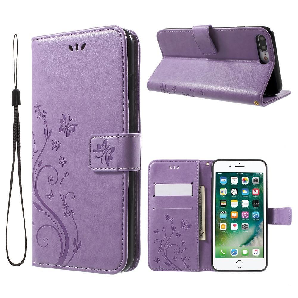 Nahkakotelo Perhonen iPhone 7 Plus/8 Plus liila