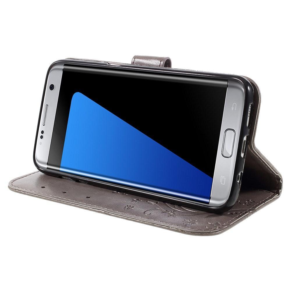 Nahkakotelo Perhonen Samsung Galaxy S7 Edge harmaa