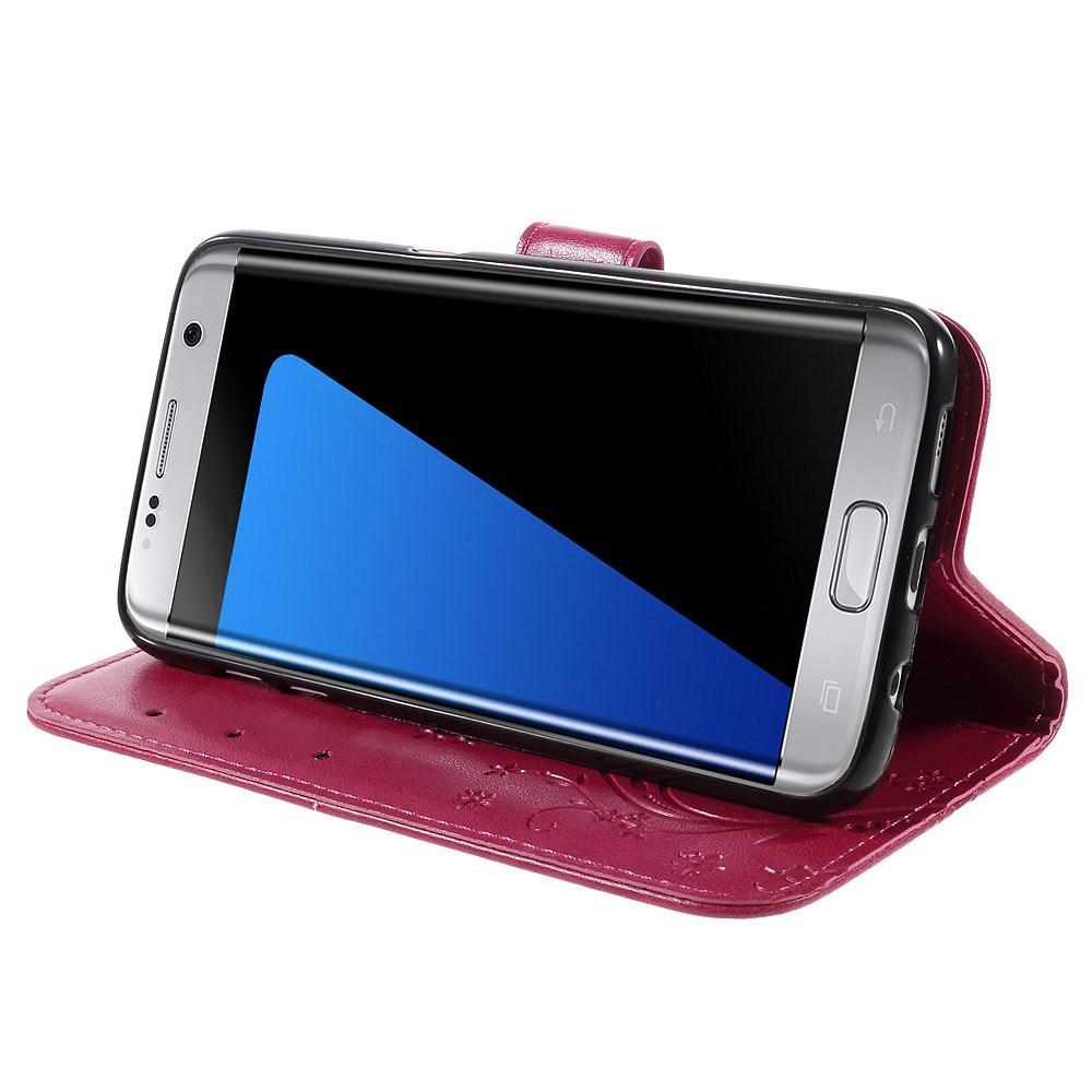 Nahkakotelo Perhonen Samsung Galaxy S7 Edge cerise