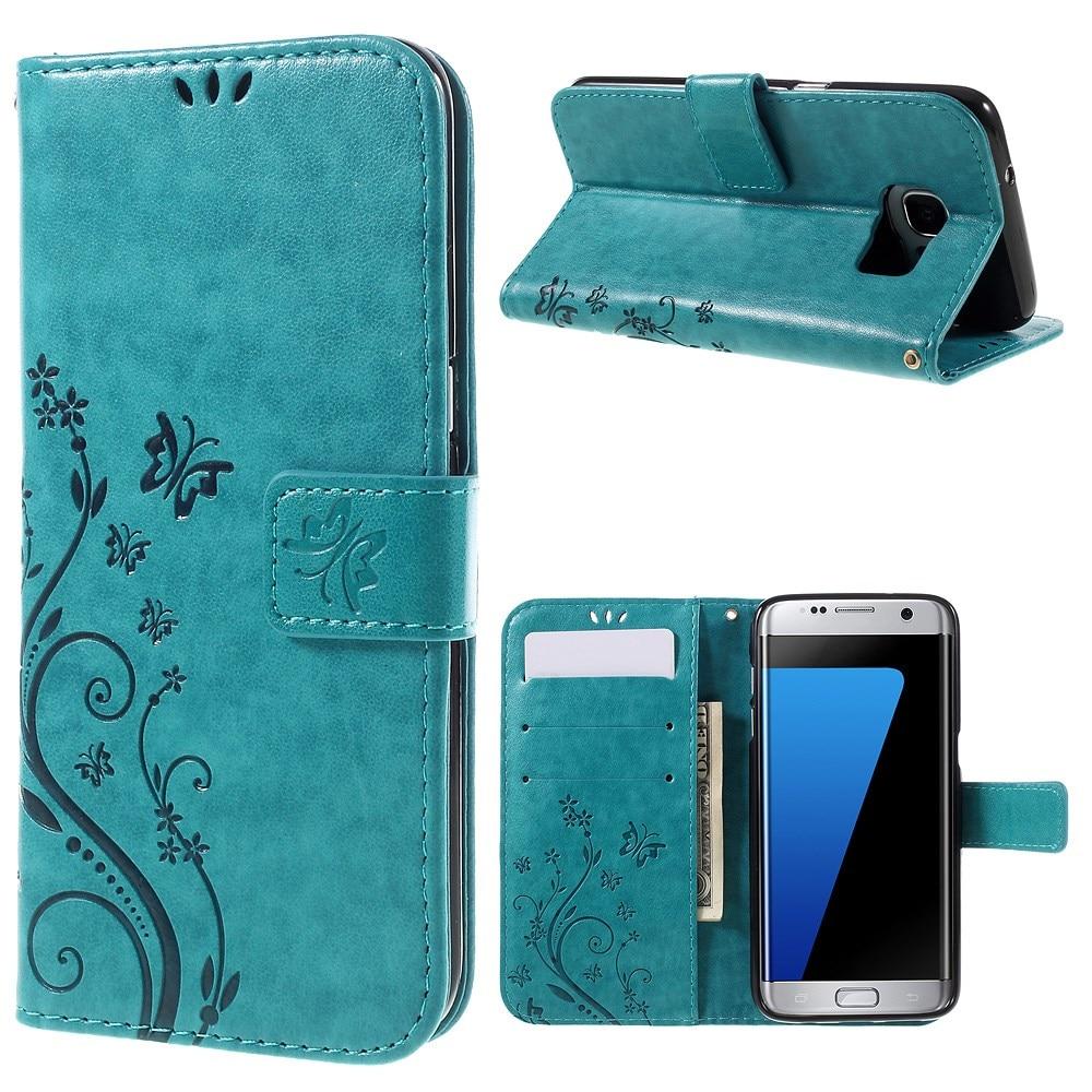 Nahkakotelo Perhonen Samsung Galaxy S7 Edge sininen