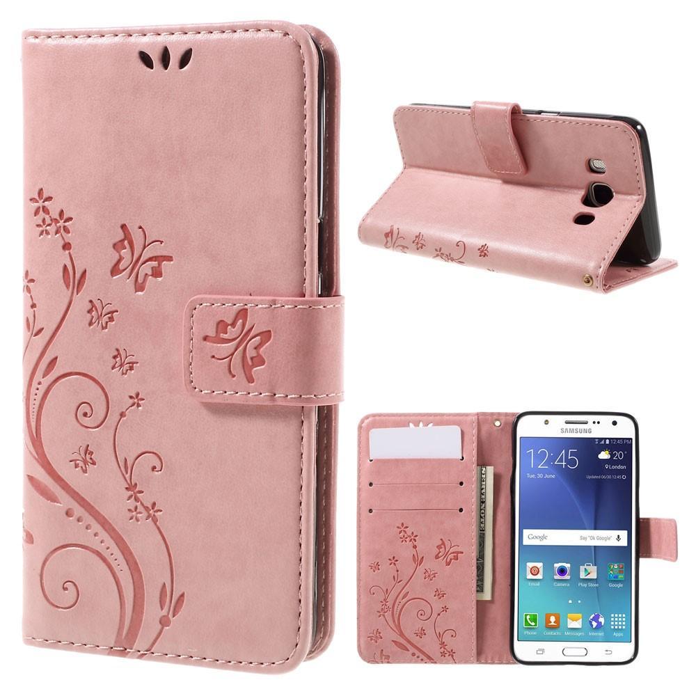 Nahkakotelo Perhonen Samsung Galaxy J5 2016 vaaleanpunainen
