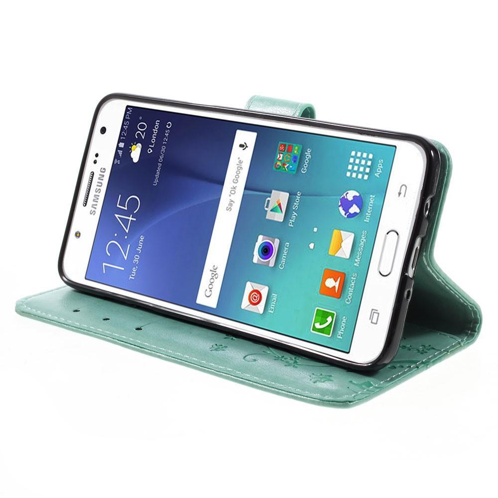 Nahkakotelo Perhonen Samsung Galaxy J5 2016 vihreä