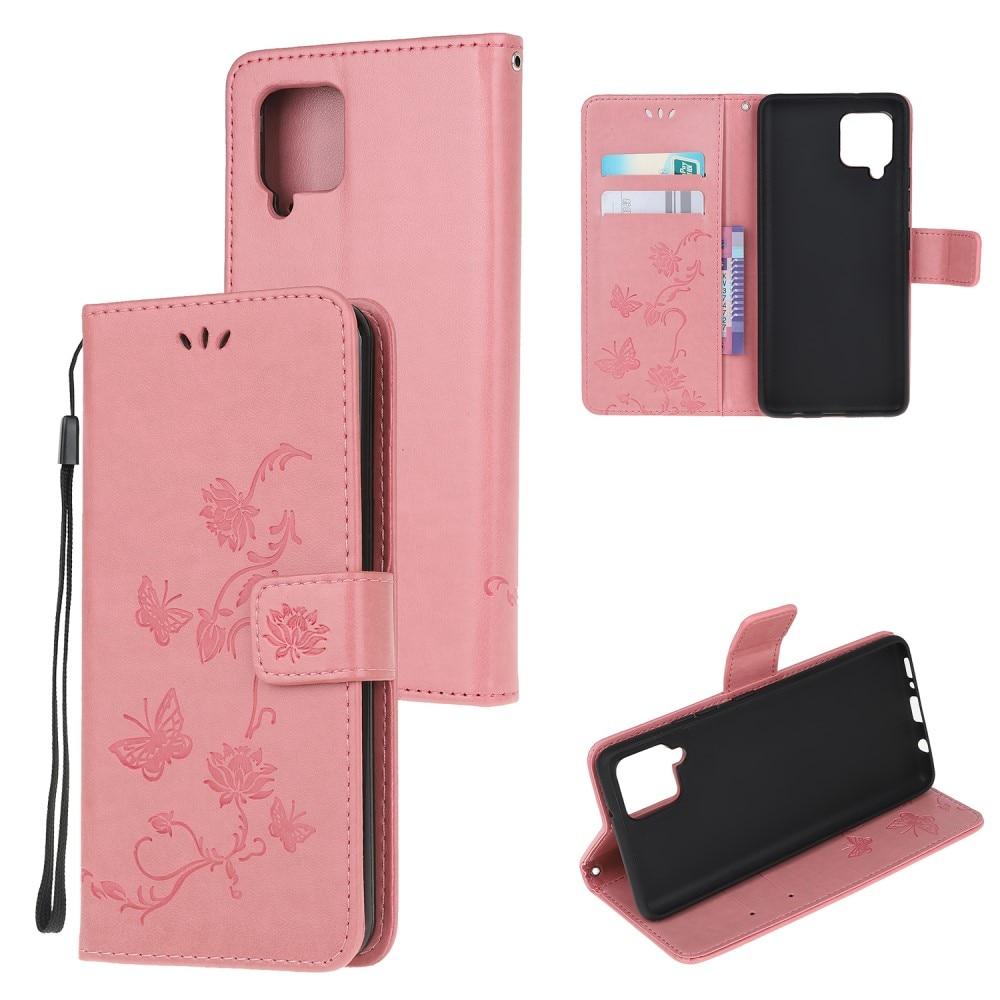 Nahkakotelo Perhonen Samsung Galaxy A22 4G vaaleanpunainen