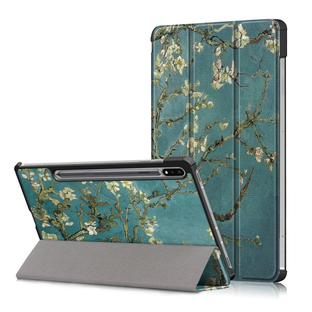 Kotelo Tri-fold Samsung Galaxy Tab S7 FE kirsikankukkia