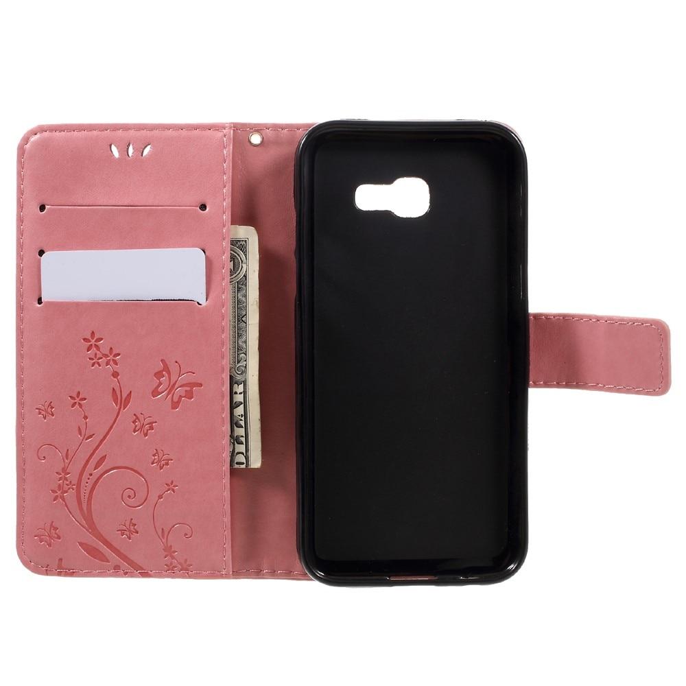 Nahkakotelo Perhonen Samsung Galaxy A5 2017 vaaleanpunainen
