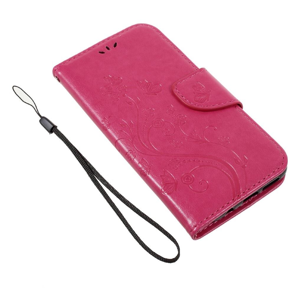 Nahkakotelo Perhonen Samsung Galaxy S8 vaaleanpunainen