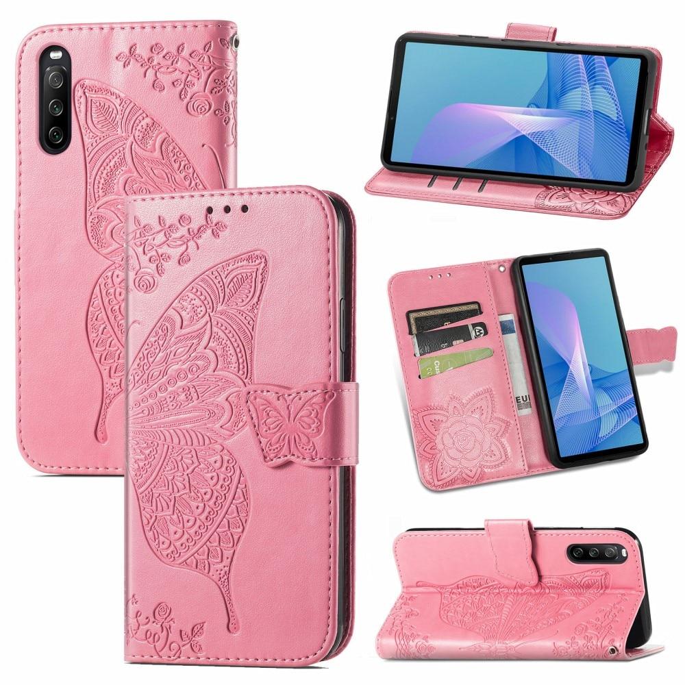 Nahkakotelo Perhonen Sony Xperia 10 III vaaleanpunainen