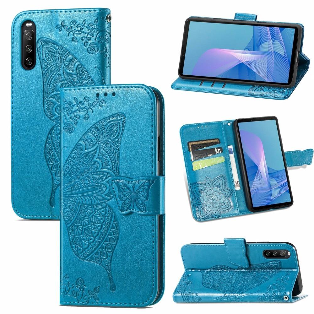 Nahkakotelo Perhonen Sony Xperia 10 III sininen
