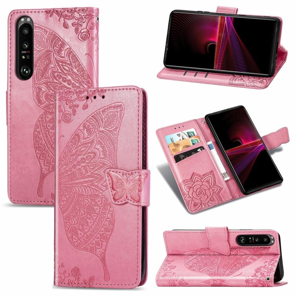 Nahkakotelo Perhonen Sony Xperia 1 III vaaleanpunainen