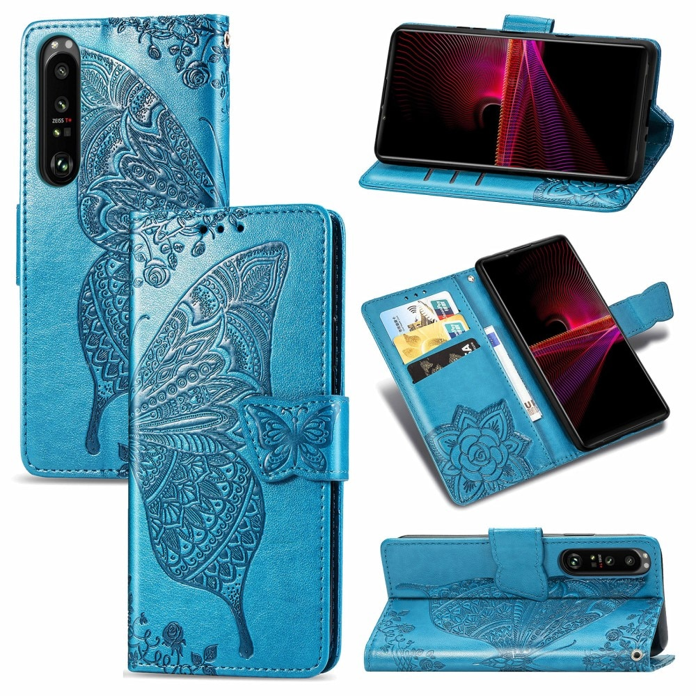 Nahkakotelo Perhonen Sony Xperia 1 III sininen