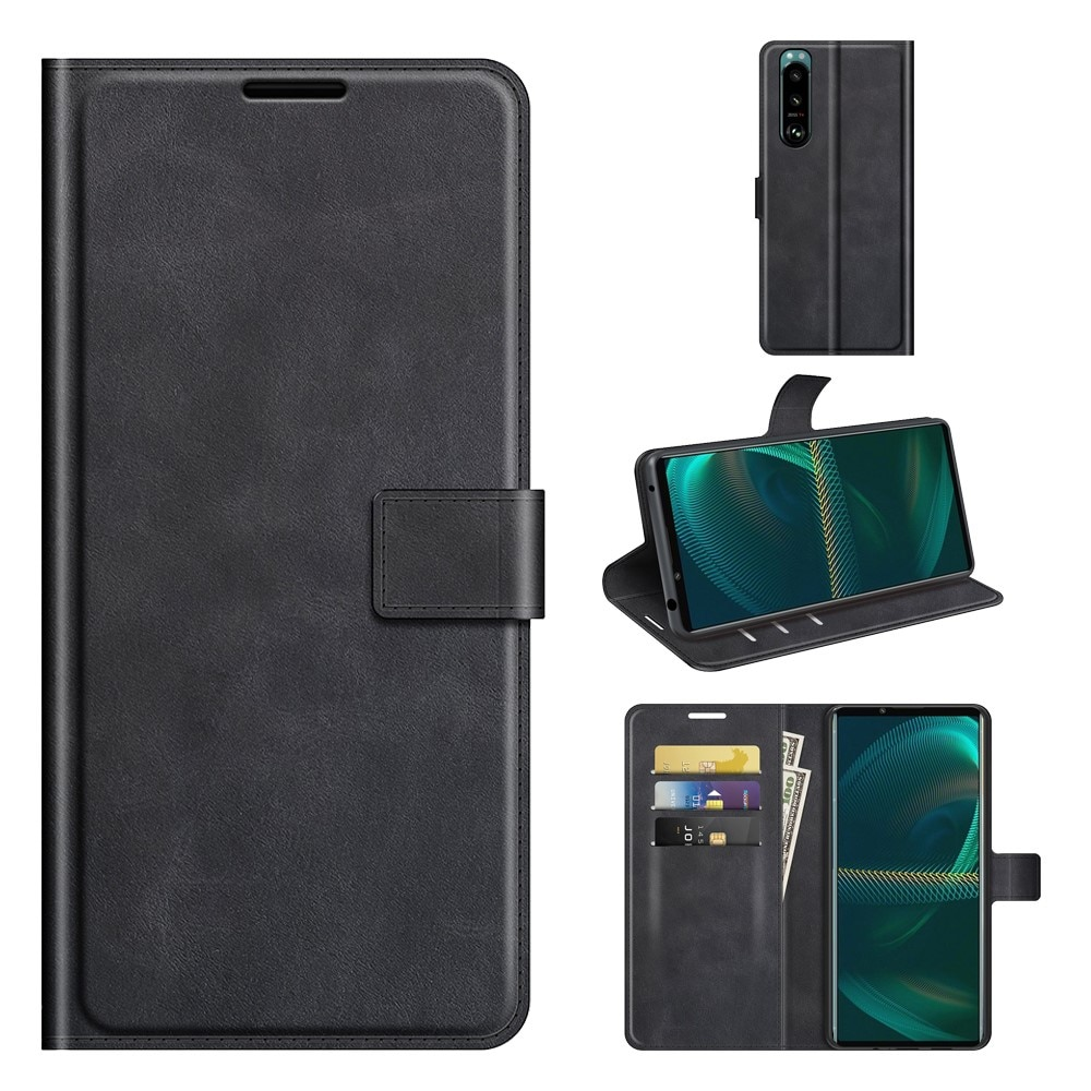 Leather Wallet Sony Xperia 5 III Black