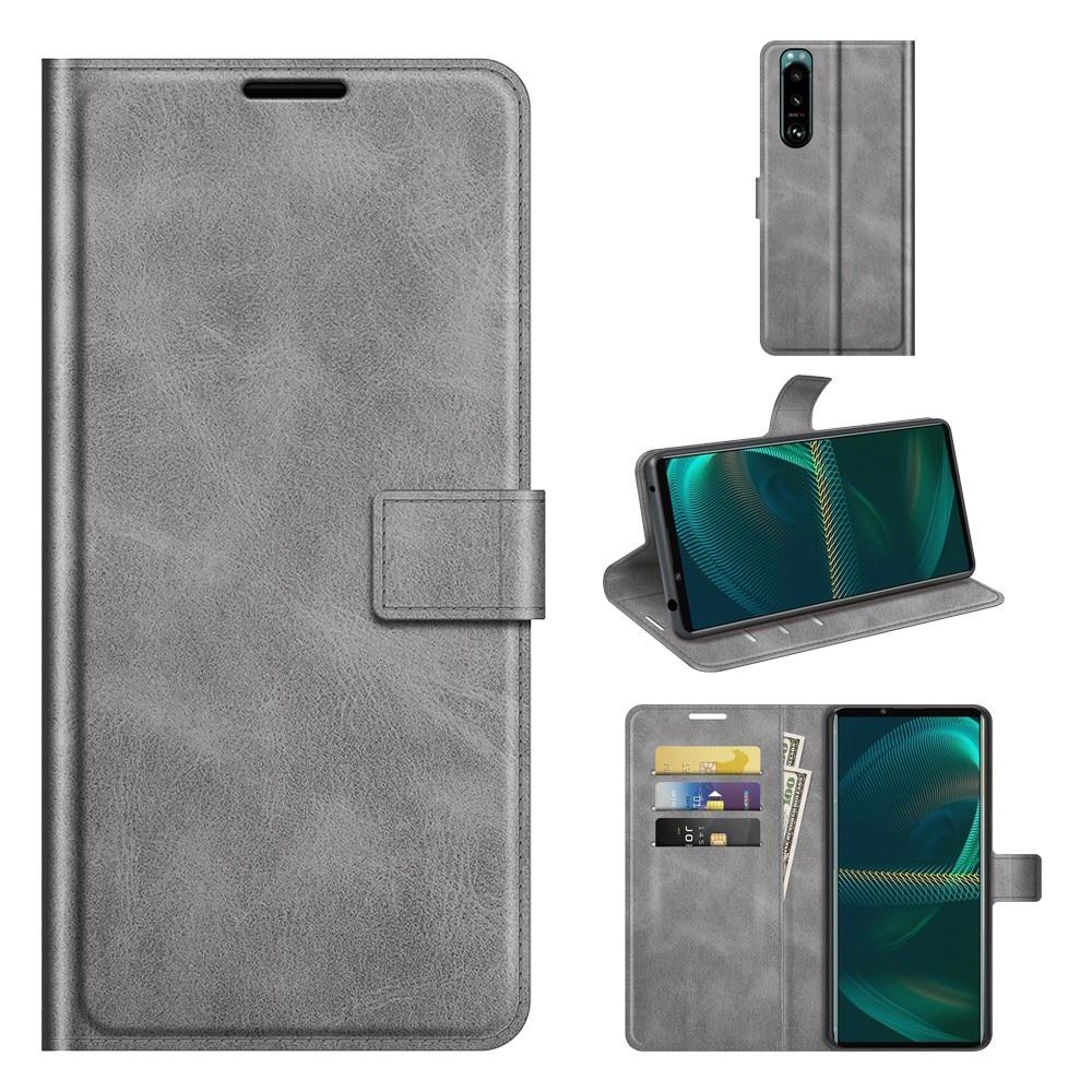 Leather Wallet Sony Xperia 5 III Grey