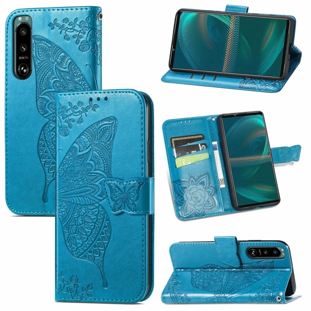 Nahkakotelo Perhonen Sony Xperia 5 III sininen