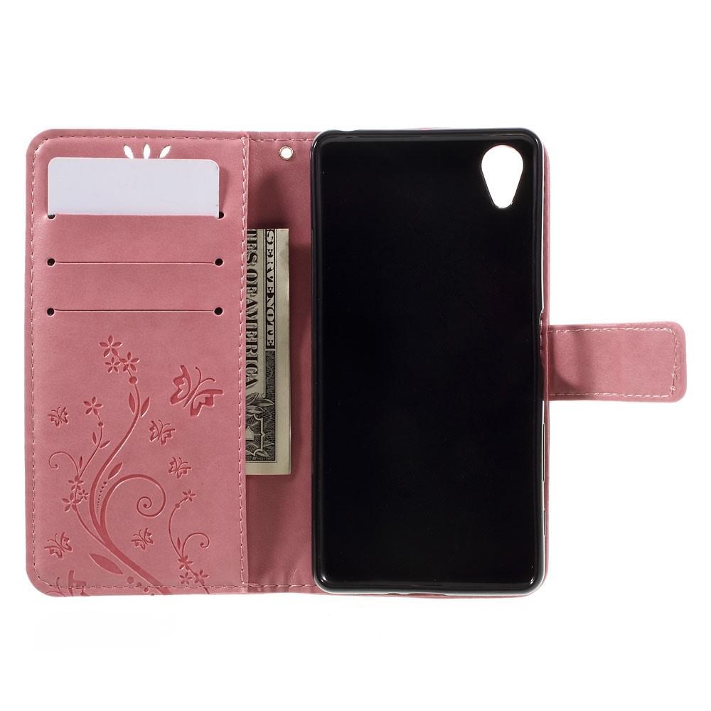 Nahkakotelo Perhonen Xperia X Performance vaaleanpunainen