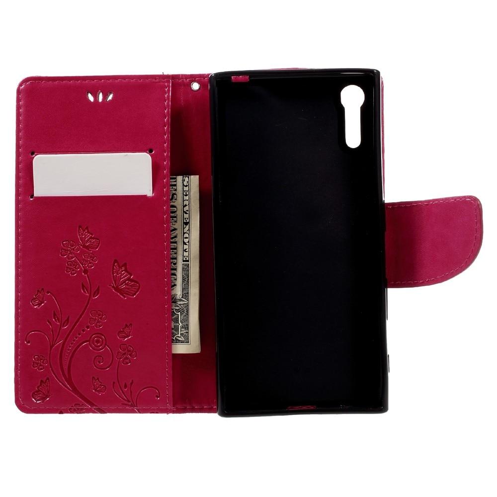Nahkakotelo Perhonen Sony Xperia XZ vaaleanpunainen