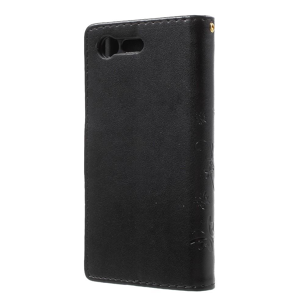 Nahkakotelo Perhonen Sony Xperia X Compact musta