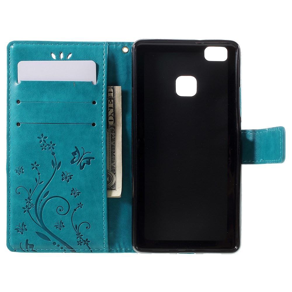 Nahkakotelo Perhonen Huawei P9 Lite sininen