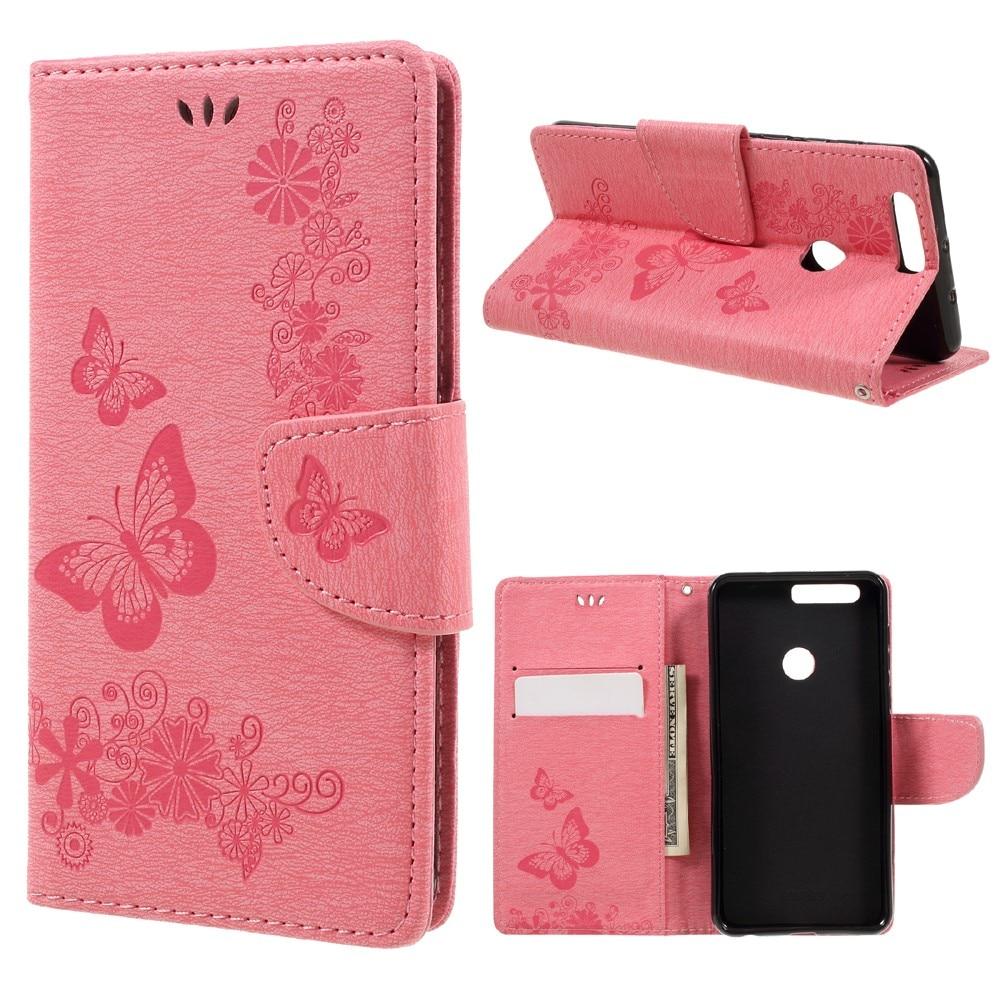 Nahkakotelo Perhonen Huawei Honor 8 vaaleanpunainen