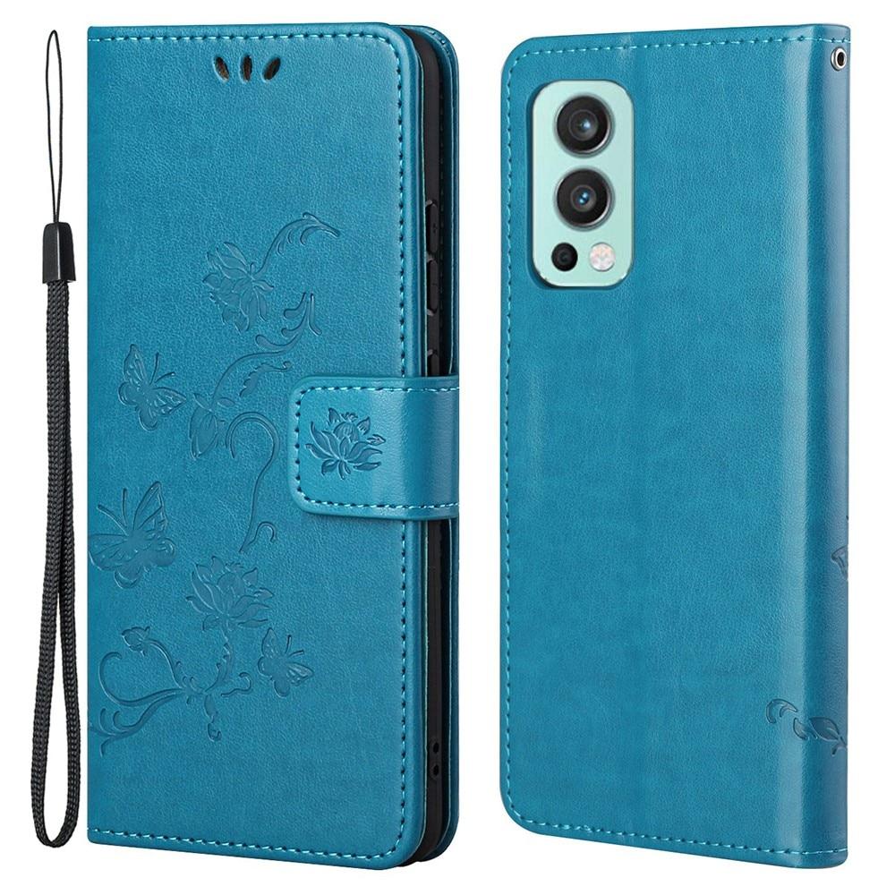 Nahkakotelo Perhonen OnePlus Nord 2 5G sininen