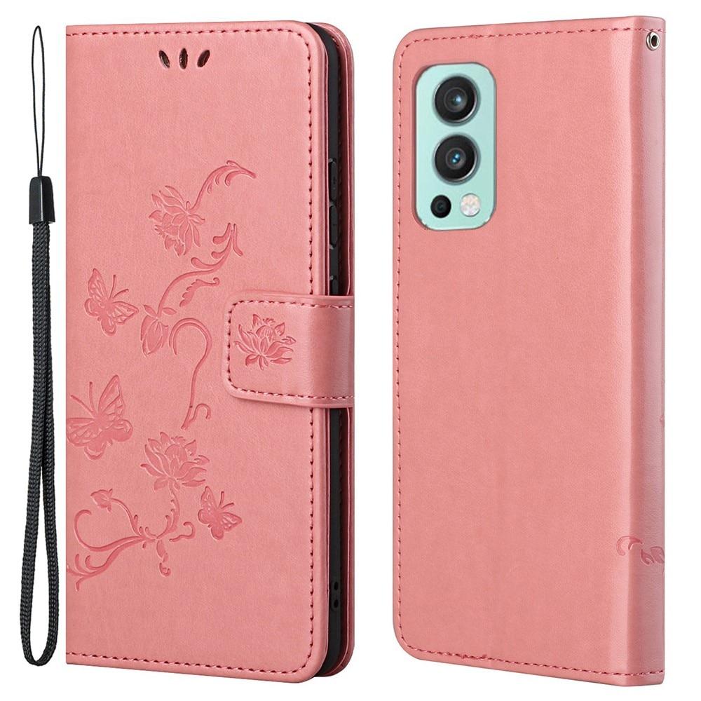 Nahkakotelo Perhonen OnePlus Nord 2 5G vaaleanpunainen