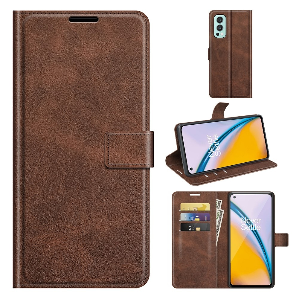 Leather Wallet OnePlus Nord 2 5G Brown
