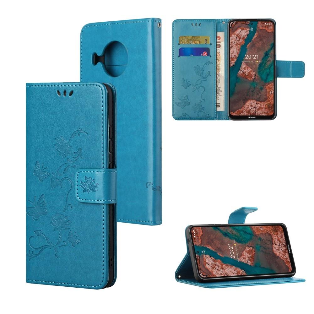 Nahkakotelo Perhonen Nokia X10/X20 sininen