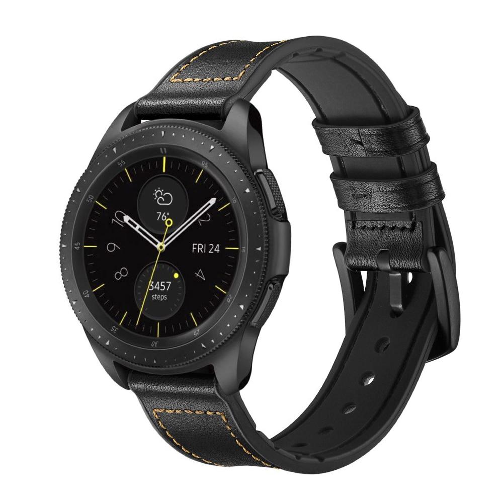 Premium Nahkaranneke Galaxy Watch 4 Classic 42/46 mm musta