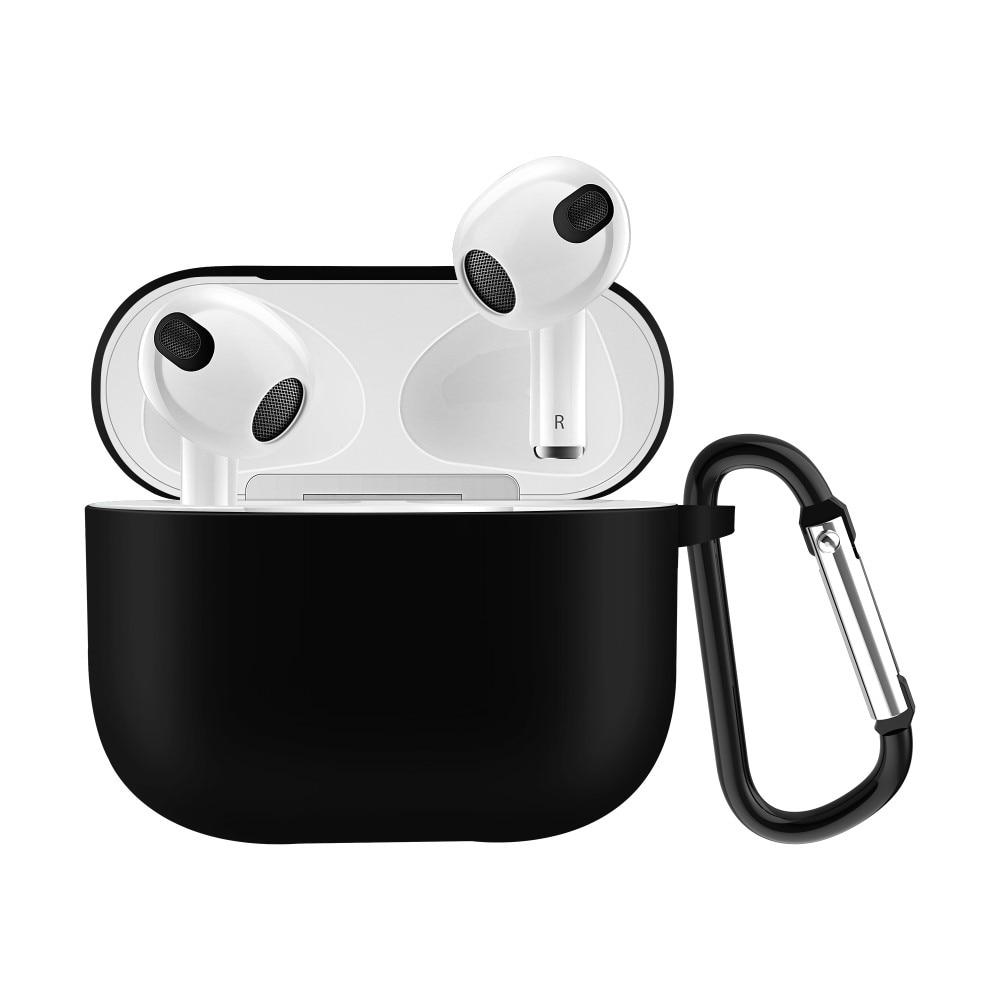 Silikonikotelo karabiinilla Apple AirPods 3 musta