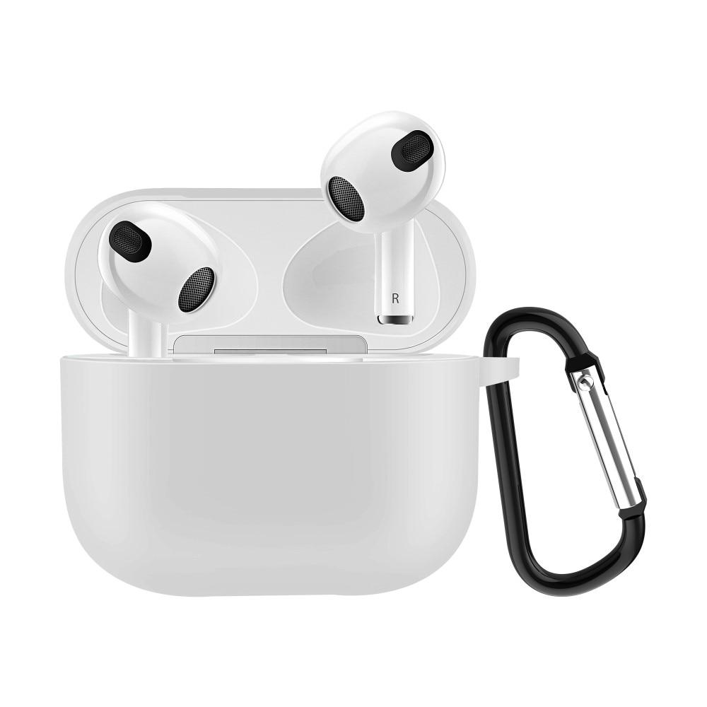 Silikonikotelo karabiinilla Apple AirPods 3 valkoinen
