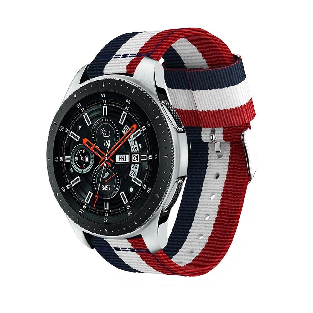 Nailonranneke Samsung Galaxy Watch 45/46 mm sininen/valkoinen/punainen