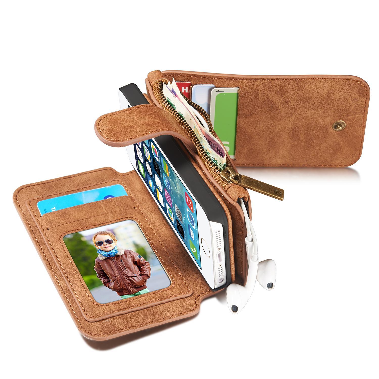 Multi-slot Suojakotelo iPhone 5/5S/SE ruskea