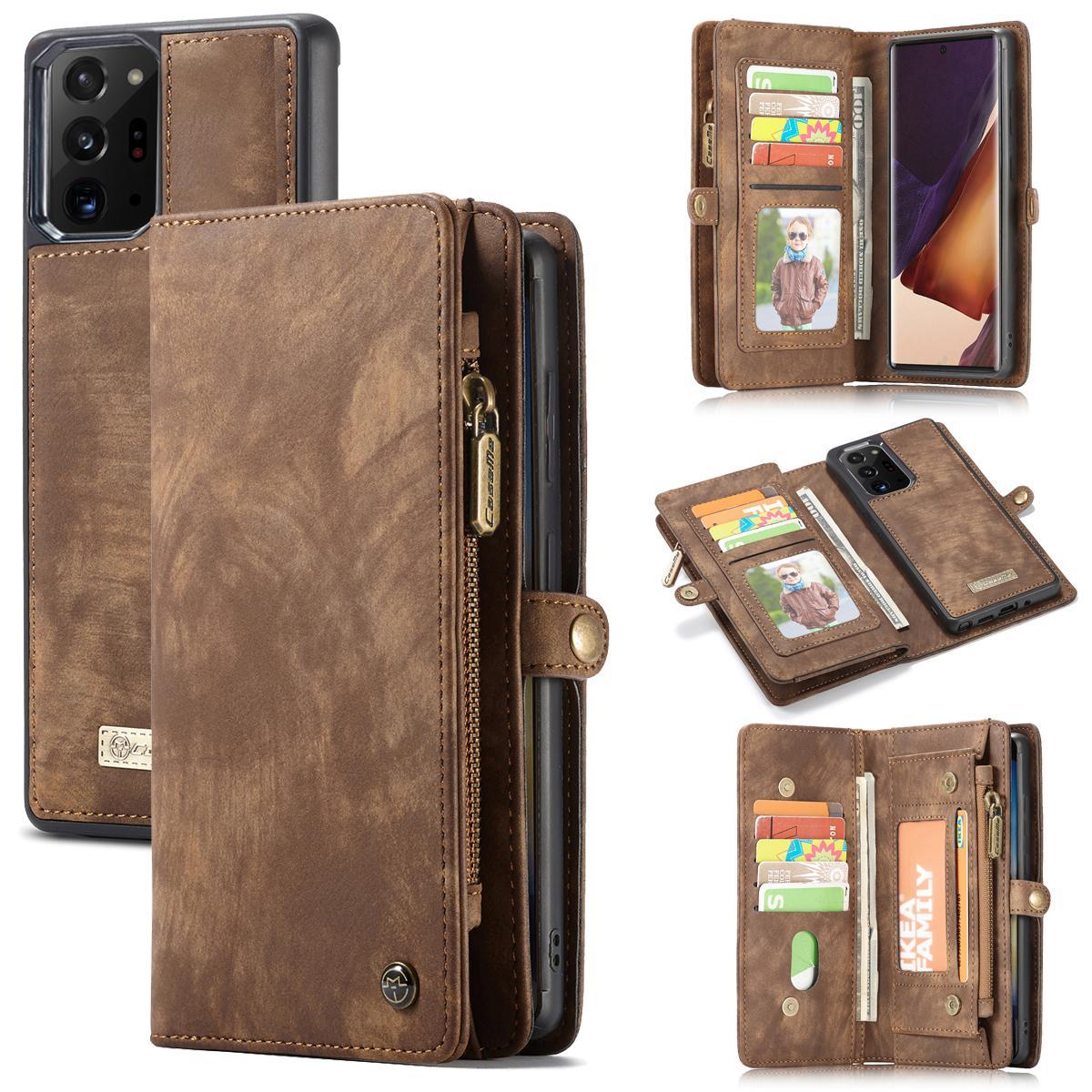 Multi-slot Suojakotelo Galaxy Note 20 Ultra ruskea